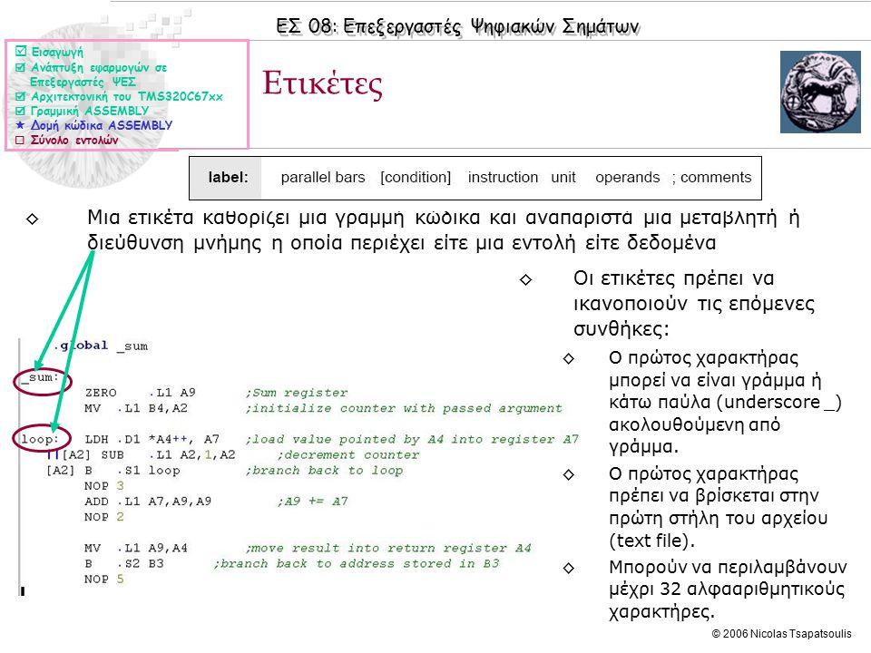 ΕΣ 08: Επεξεργαστές Ψηφιακών Σημάτων © 2006 Nicolas Tsapatsoulis ◊Στο συγκεκριμένο παράδειγμα οι εντολές LDH και SUB εκτελούνται παράλληλα Παράλληλες μπάρες ◊Μια εντολή η οποία εκτελείται σε παραλληλία με την προηγούμενη της δηλώνεται με παράλληλες μπάρες (||).