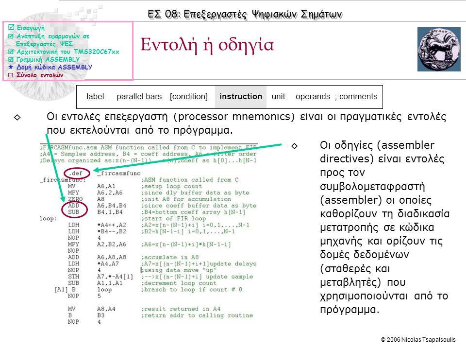 ΕΣ 08: Επεξεργαστές Ψηφιακών Σημάτων © 2006 Nicolas Tsapatsoulis Εντολή ή οδηγία (ΙΙ) ◊Στον επόμενο πίνακα δίνονται μερικά παραδείγματα οδηγιών  Εισαγωγή  Ανάπτυξη εφαρμογών σε Επεξεργαστές ΨΕΣ  Αρχιτεκτονική του TMS320C67xx  Γραμμική ASSEMBLY  Δομή κώδικα ASSEMBLY  Σύνολο εντολών