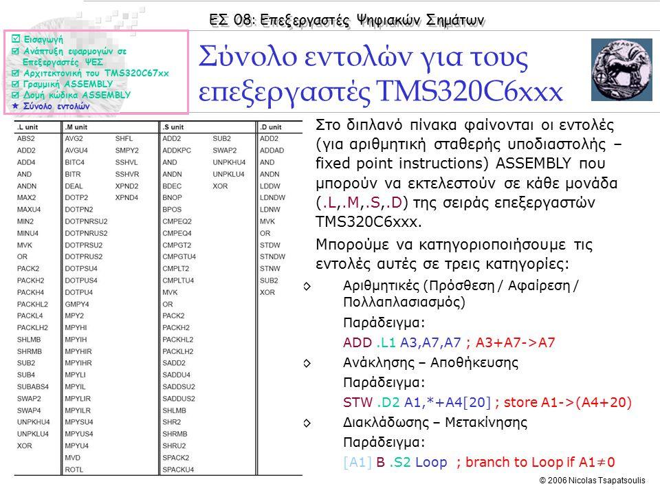 ΕΣ 08: Επεξεργαστές Ψηφιακών Σημάτων © 2006 Nicolas Tsapatsoulis Floating Point Instructions ◊Στο διπλανό πίνακα φαίνονται οι εντολές (για αριθμητική κινητής υποδιαστολής – floating point instructions) ASSEMBLY που μπορούν να εκτελεστούν σε κάθε μονάδα (.L,.M,.S,.D) της σειράς επεξεργαστών TMS320C62xx και TMS320C67xx.