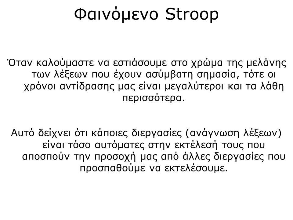 Βασικά ευρήματα Το φαινόμενο Stroop έχει μελετηθεί με διάφορες παραλλαγές ερεθισμάτων.