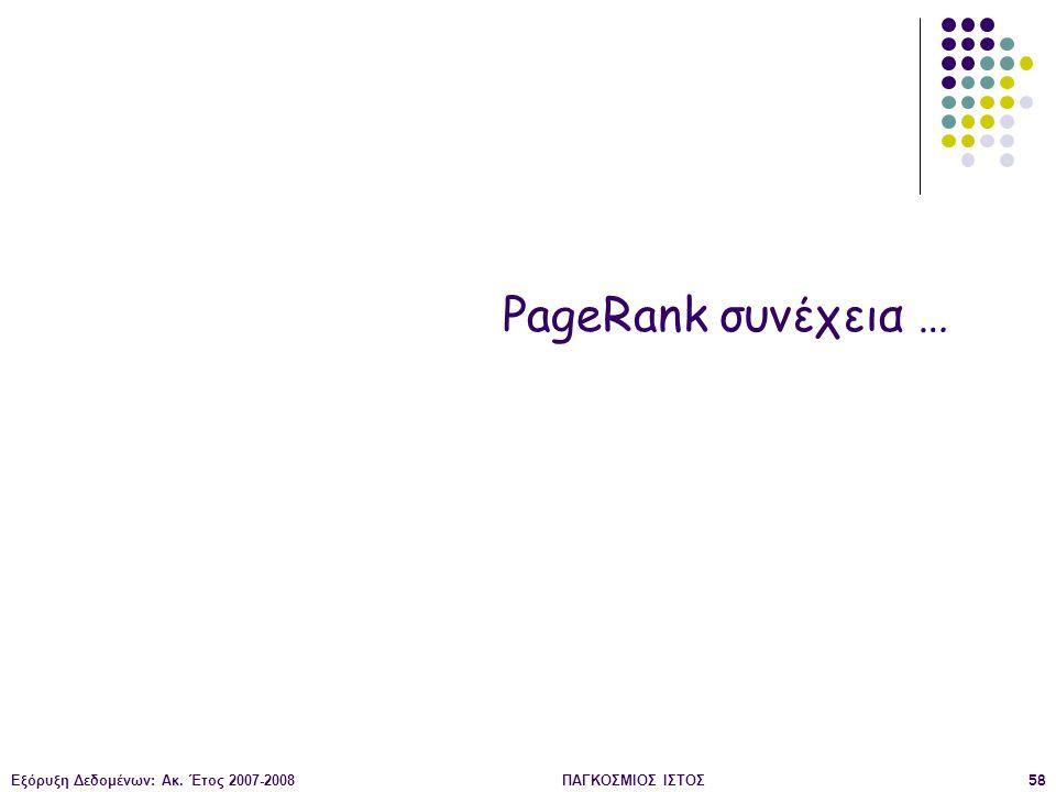 Εξόρυξη Δεδομένων: Ακ. Έτος 2007-2008ΠΑΓΚΟΣΜΙΟΣ ΙΣΤΟΣ58 PageRank συνέχεια …
