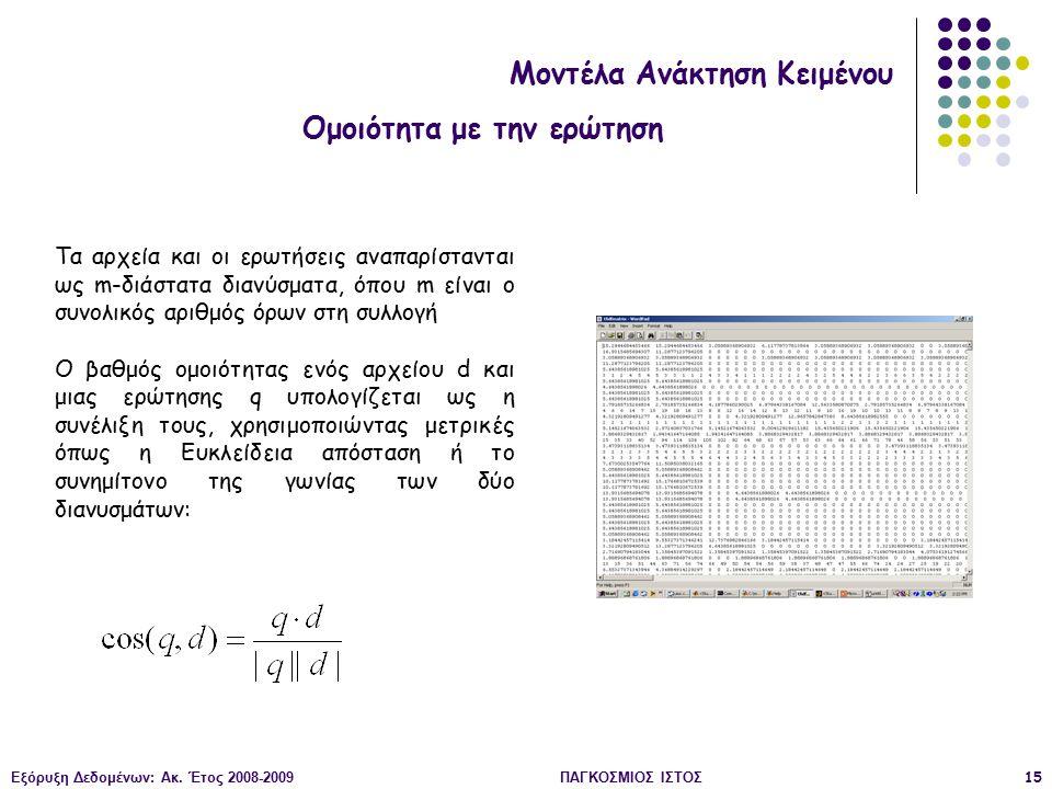 Εξόρυξη Δεδομένων: Ακ. Έτος 2008-2009ΠΑΓΚΟΣΜΙΟΣ ΙΣΤΟΣ15 Μοντέλα Ανάκτηση Κειμένου Ομοιότητα με την ερώτηση Τα αρχεία και οι ερωτήσεις αναπαρίστανται ω