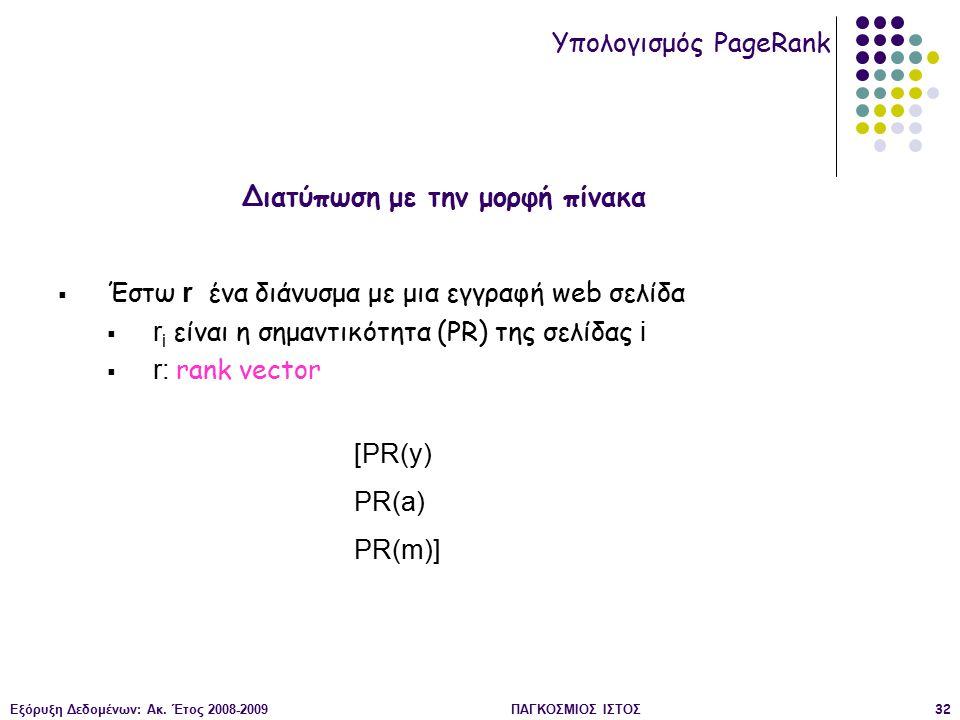 Εξόρυξη Δεδομένων: Ακ. Έτος 2008-2009ΠΑΓΚΟΣΜΙΟΣ ΙΣΤΟΣ32  Έστω r ένα διάνυσμα με μια εγγραφή web σελίδα  r i είναι η σημαντικότητα (PR) της σελίδας i