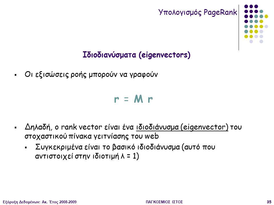 Εξόρυξη Δεδομένων: Ακ. Έτος 2008-2009ΠΑΓΚΟΣΜΙΟΣ ΙΣΤΟΣ35  Οι εξισώσεις ροής μπορούν να γραφούν r = M r  Δηλαδή, ο rank vector είναι ένα ιδιοδιάνυσμα