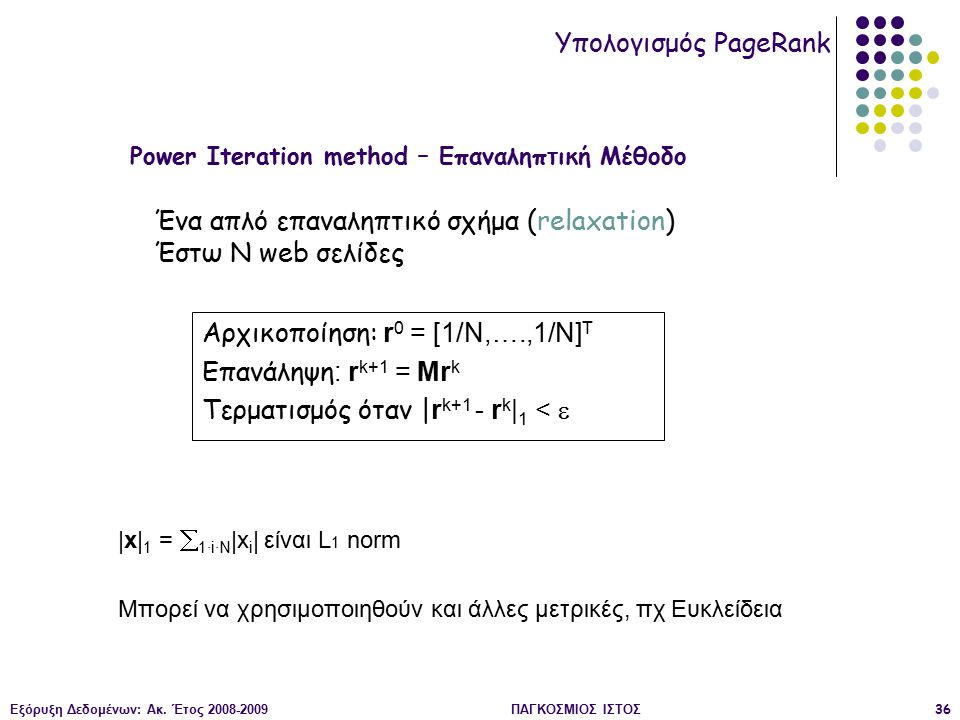 Εξόρυξη Δεδομένων: Ακ. Έτος 2008-2009ΠΑΓΚΟΣΜΙΟΣ ΙΣΤΟΣ36 |x| 1 =  1·i·N |x i | είναι L 1 norm Μπορεί να χρησιμοποιηθούν και άλλες μετρικές, πχ Ευκλείδ