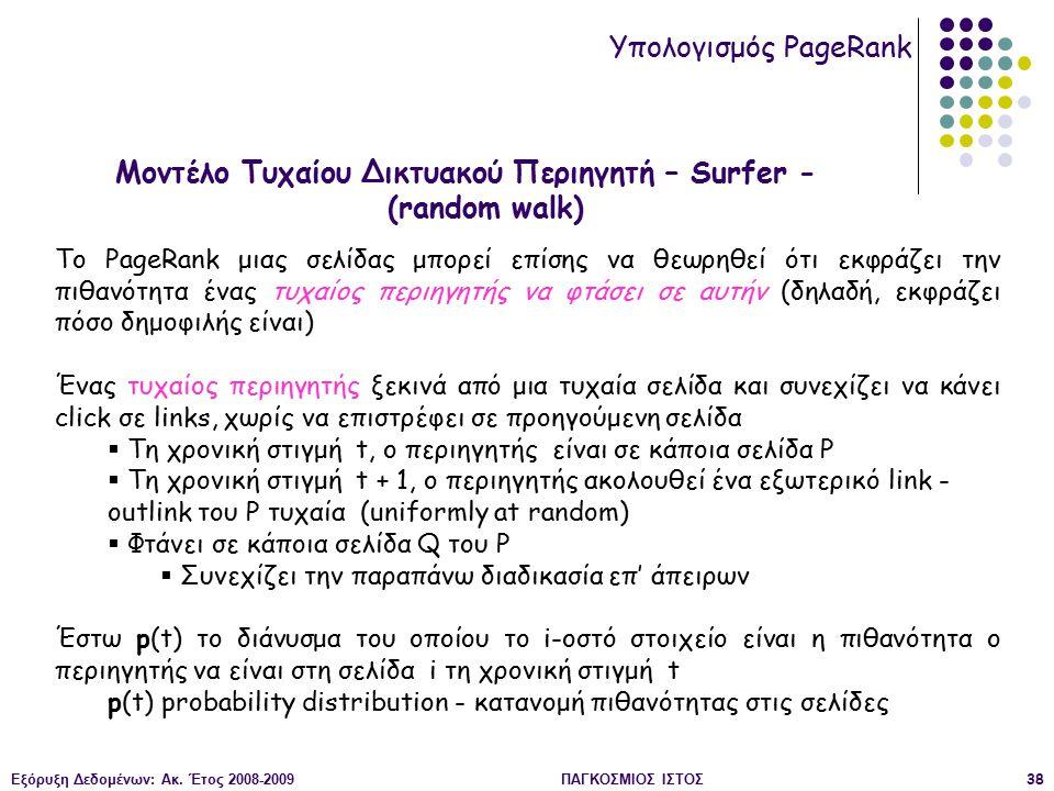 Εξόρυξη Δεδομένων: Ακ. Έτος 2008-2009ΠΑΓΚΟΣΜΙΟΣ ΙΣΤΟΣ38 Μοντέλο Τυχαίου Δικτυακού Περιηγητή – Surfer - (random walk) Υπολογισμός PageRank Tο PageRank
