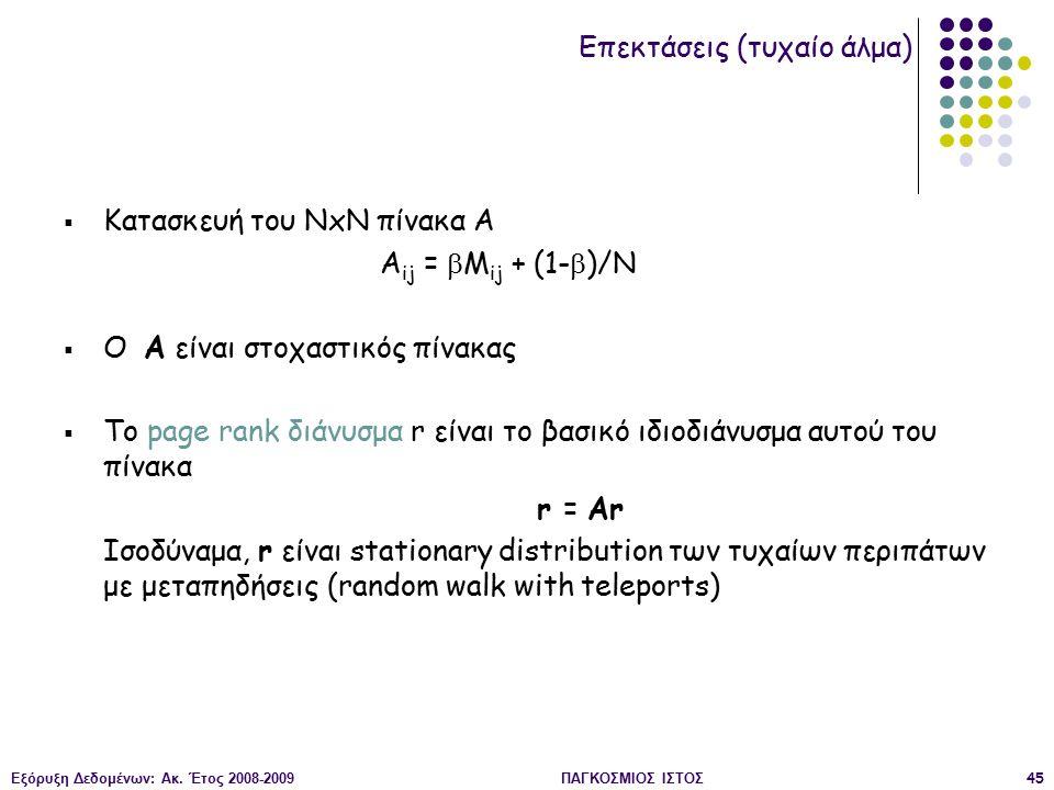 Εξόρυξη Δεδομένων: Ακ. Έτος 2008-2009ΠΑΓΚΟΣΜΙΟΣ ΙΣΤΟΣ45  Κατασκευή του ΝxΝ πίνακα Α A ij =  M ij + (1-  )/N  Ο A είναι στοχαστικός πίνακας  Το pa