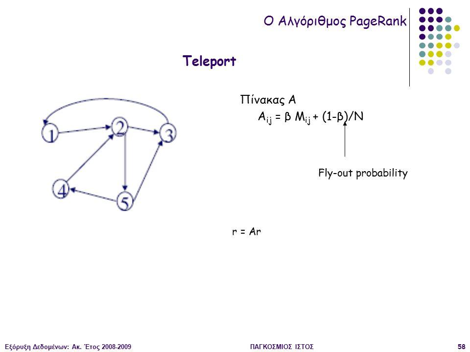 Εξόρυξη Δεδομένων: Ακ. Έτος 2008-2009ΠΑΓΚΟΣΜΙΟΣ ΙΣΤΟΣ58 O Αλγόριθμος PageRank Teleport Πίνακας Α A ij = β M ij + (1-β)/N Fly-out probability r = Ar