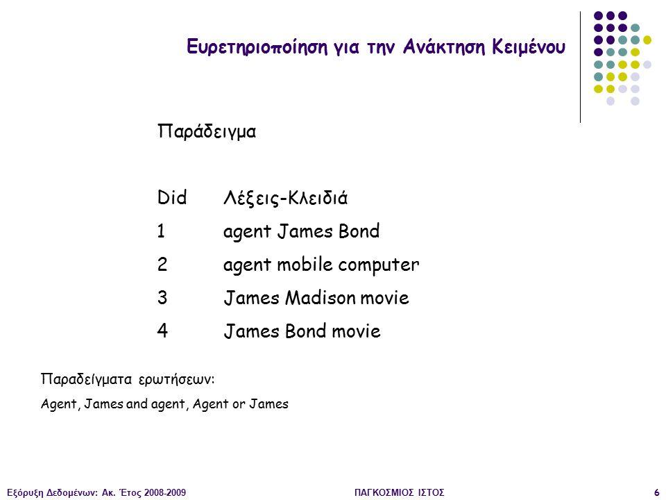 Εξόρυξη Δεδομένων: Ακ. Έτος 2008-2009ΠΑΓΚΟΣΜΙΟΣ ΙΣΤΟΣ6 Ευρετηριοποίηση για την Ανάκτηση Κειμένου Παράδειγμα Did Λέξεις-Κλειδιά 1agent James Bond 2agen