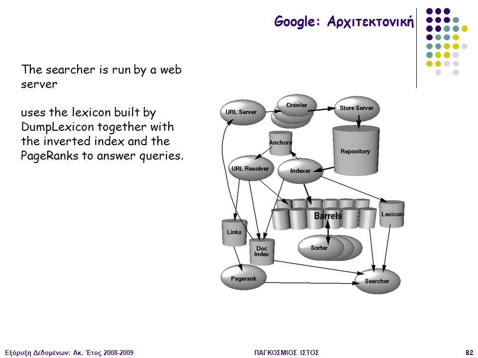 Εξόρυξη Δεδομένων: Ακ. Έτος 2008-2009ΠΑΓΚΟΣΜΙΟΣ ΙΣΤΟΣ82 The searcher is run by a web server uses the lexicon built by DumpLexicon together with the in