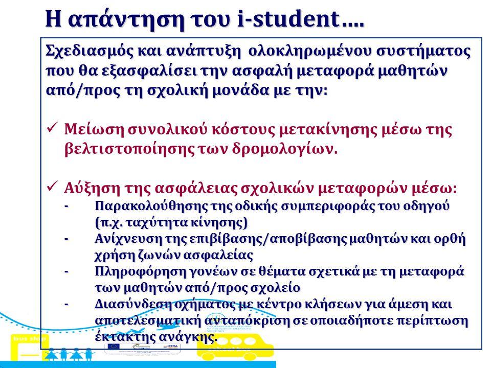 Η απάντηση του i-student…. Σχεδιασμός και ανάπτυξη ολοκληρωμένου συστήματος που θα εξασφαλίσει την ασφαλή μεταφορά μαθητών από/προς τη σχολική μονάδα