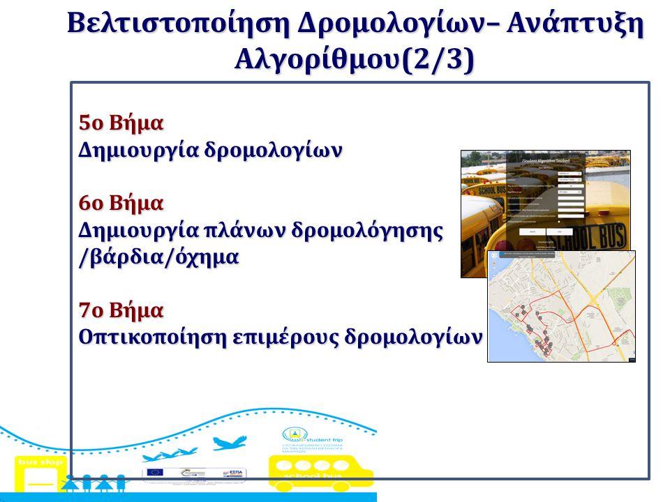 5ο Βήμα Δημιουργία δρομολογίων 6ο Βήμα Δημιουργία πλάνων δρομολόγησης /βάρδια/όχημα 7ο Βήμα Οπτικοποίηση επιμέρους δρομολογίων Βελτιστοποίηση Δρομολογ