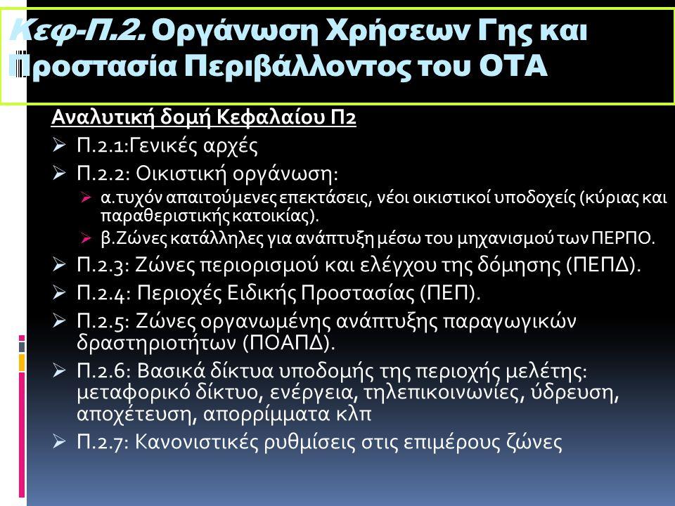 Κεφ-Π.2. Οργάνωση Χρήσεων Γης και Προστασία Περιβάλλοντος του ΟΤΑ Αναλυτική δομή Κεφαλαίου Π2  Π.2.1:Γενικές αρχές  Π.2.2: Οικιστική οργάνωση:  α.τ