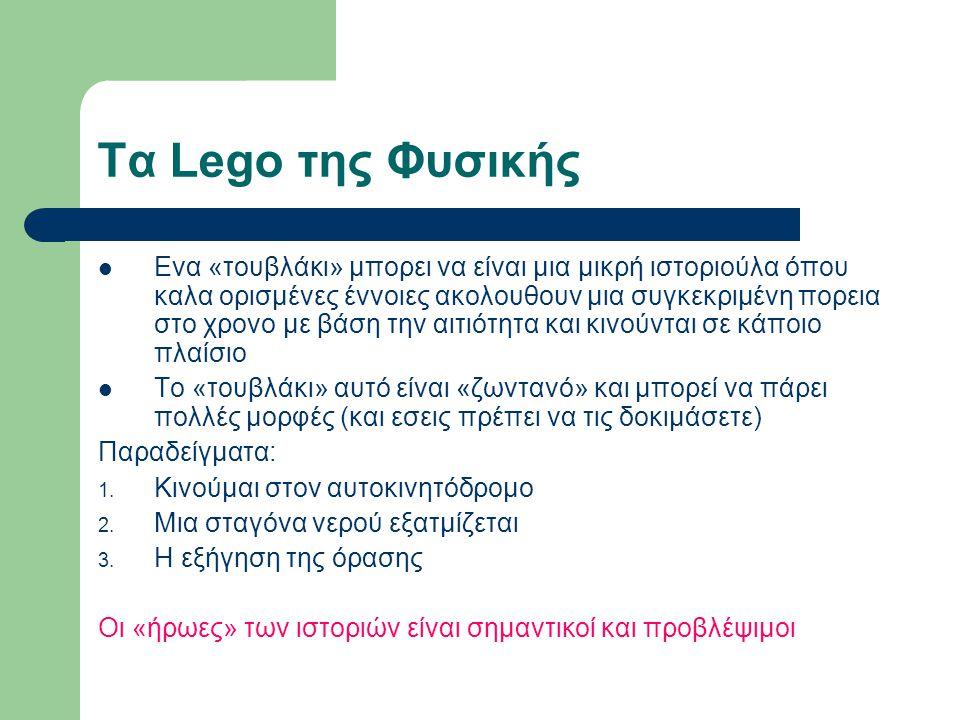 Τα Lego της Φυσικής Ενα «τουβλάκι» μπορει να είναι μια μικρή ιστοριούλα όπου καλα ορισμένες έννοιες ακολουθουν μια συγκεκριμένη πορεια στο χρονο με βάση την αιτιότητα και κινούνται σε κάποιο πλαίσιο Το «τουβλάκι» αυτό είναι «ζωντανό» και μπορεί να πάρει πολλές μορφές (και εσεις πρέπει να τις δοκιμάσετε) Παραδείγματα: 1.