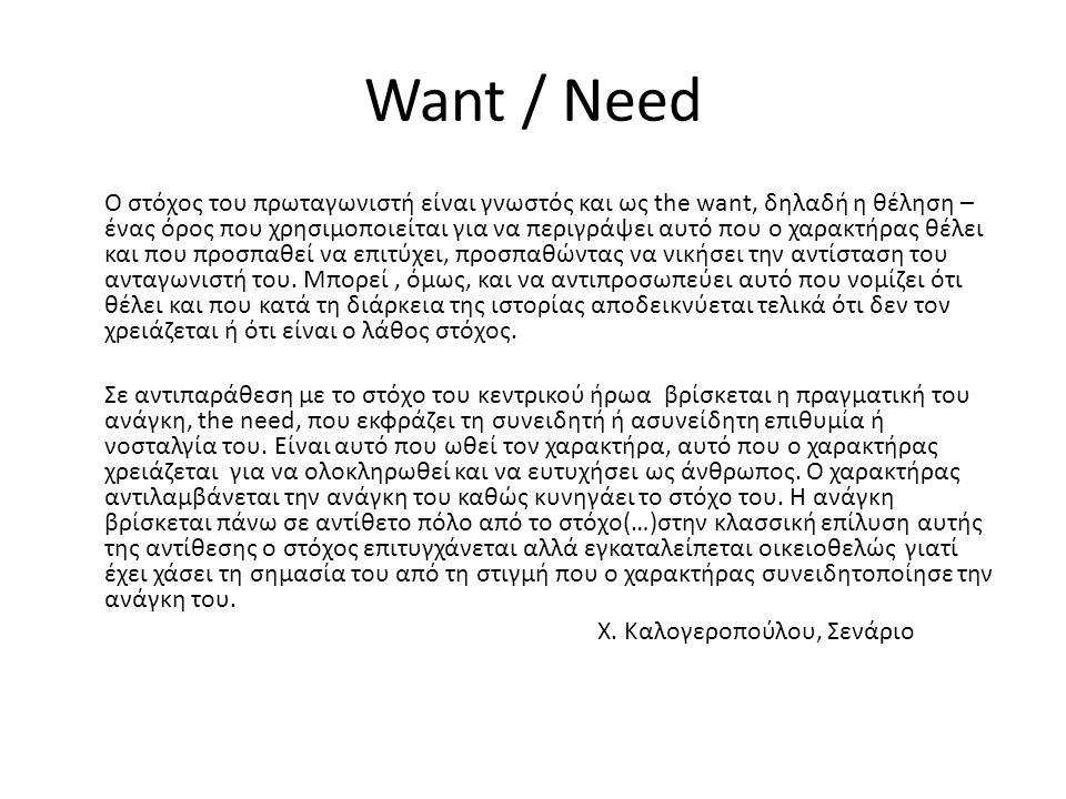 Want / Need Ο στόχος του πρωταγωνιστή είναι γνωστός και ως the want, δηλαδή η θέληση – ένας όρος που χρησιμοποιείται για να περιγράψει αυτό που ο χαρα