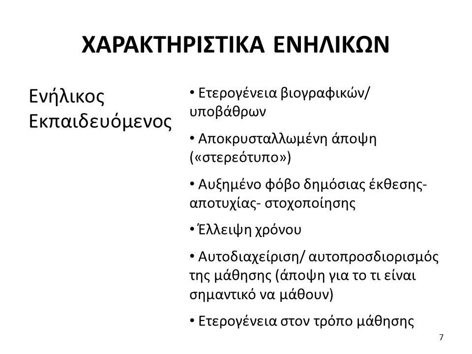 -Συμπεριφοριστική (το περιβάλλον παίζει ρόλο) - Γνωστική (προσωπική αντίληψη και πολύπλευρη ανάλυση) - Ανθρωπιστική (προσωπικότητα- πυραμίδα αναγκών Maslow) - Κοινωνική μάθηση (αλληλεπίδραση εξωτερικών επιδράσεων και ατόμου) Γενικές: 8 ΘΕΩΡΙΕΣ ΜΑΘΗΣΗΣ (1)