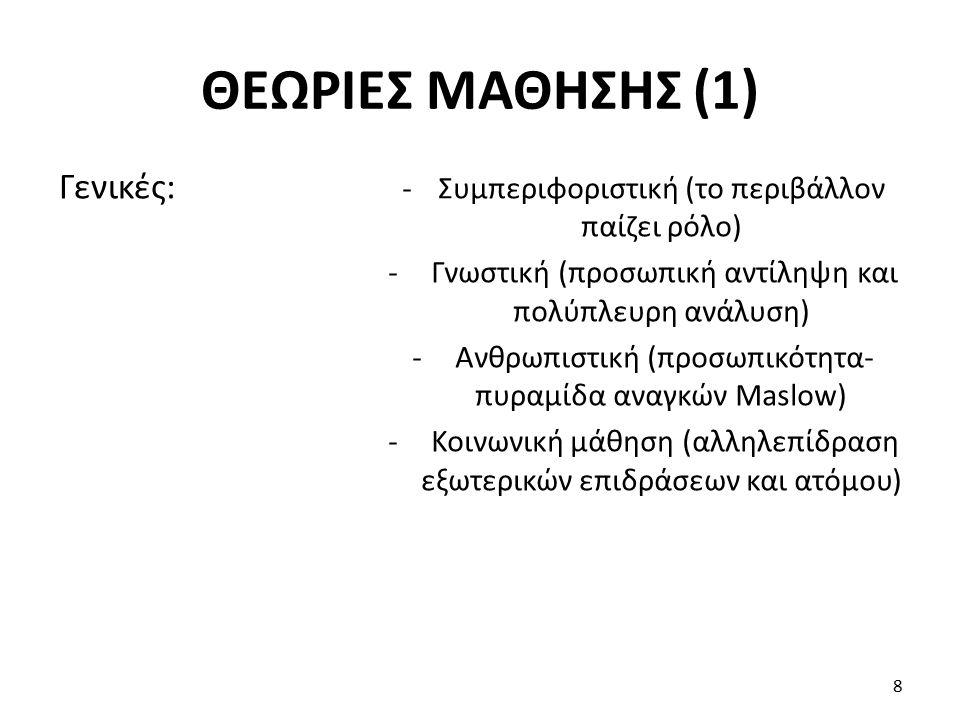 - «Ανδραγωγική» (≠ «Παιδαγωγική»): αυτοπροσδιορισμός εκπαιδευόμενου - Θεωρίες τρόπου ζωής και ρόλου (πχ μαθαίνω να είμαι «τραπεζικός» ή «γονέας») - Θεωρίες συνειδησιακής μεταβολής («μετασχηματίζουσα» μάθηση: αλλαγή αξιών, αντιλήψεων κλπ) Μάθηση ενηλίκων: 9 ΘΕΩΡΙΕΣ ΜΑΘΗΣΗΣ (2)