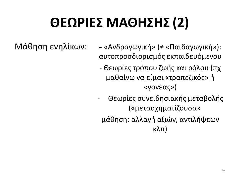Ένα πιο γενικευμένο μοντέλο (ένα από τα πολλά): 10 ΜΟΝΤΕΛΟ ΜΑΘΗΣΗΣ Μάθηση Σωρευτική (αποστήθιση) Αφομοιωτική (μελέτη, κατανόηση) Προσαρμοστική (δοκιμή και αναθεώρηση) Μετασχηματίζο υσα (ριζική αναθεώρηση)