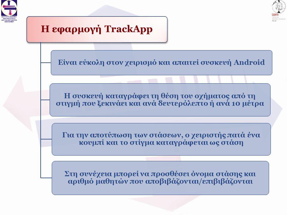Η εφαρμογή TrackApp Είναι εύκολη στον χειρισμό και απαιτεί συσκευή Android Η συσκευή καταγράφει τη θέση του οχήματος από τη στιγμή που ξεκινάει και ανά δευτερόλεπτο ή ανά 10 μέτρα Για την αποτύπωση των στάσεων, ο χειριστής πατά ένα κουμπί και το στίγμα καταγράφεται ως στάση Στη συνέχεια μπορεί να προσθέσει όνομα στάσης και αριθμό μαθητών που αποβιβάζονται/επιβιβάζονται