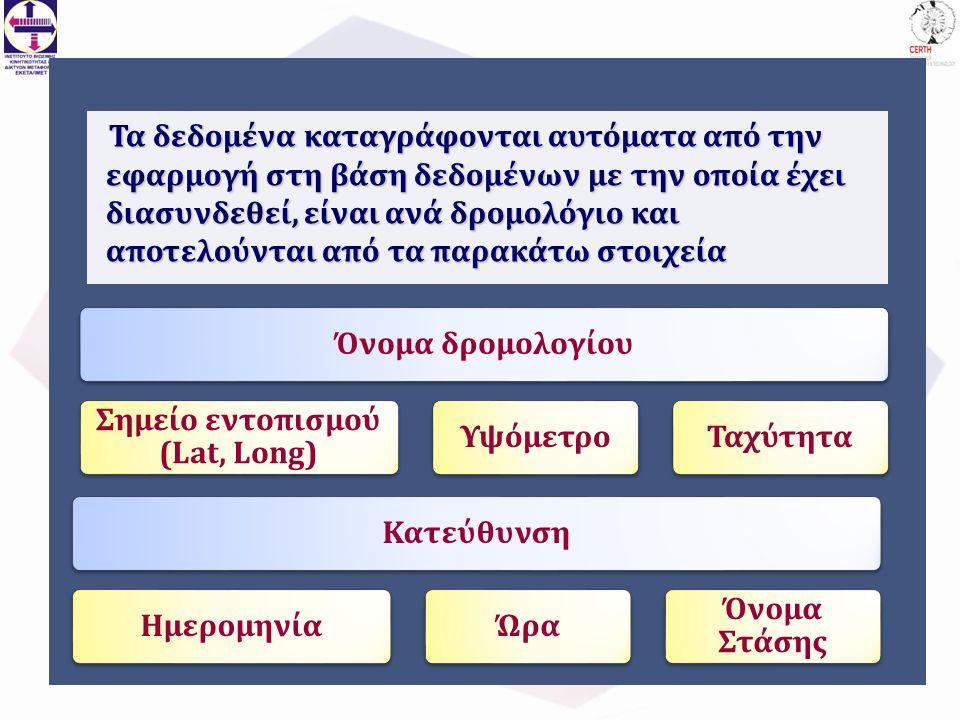 Τα δεδομένα καταγράφονται αυτόματα από την εφαρμογή στη βάση δεδομένων με την οποία έχει διασυνδεθεί, είναι ανά δρομολόγιο και αποτελούνται από τα παρακάτω στοιχεία Όνομα δρομολογίου Σημείο εντοπισμού (Lat, Long) ΥψόμετροΤαχύτηταΚατεύθυνσηΗμερομηνίαΏρα Όνομα Στάσης