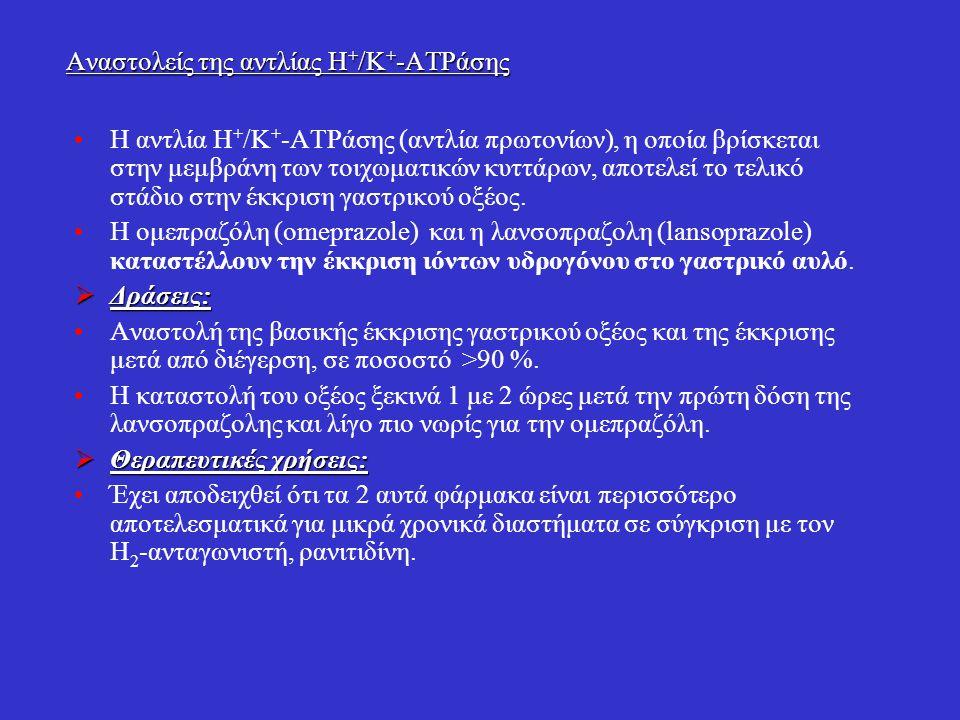 Αναστολείς της αντλίας Η + /Κ + -ΑΤΡάσης Η αντλία Η + /Κ + -ΑΤΡάσης (αντλία πρωτονίων), η οποία βρίσκεται στην μεμβράνη των τοιχωματικών κυττάρων, απο