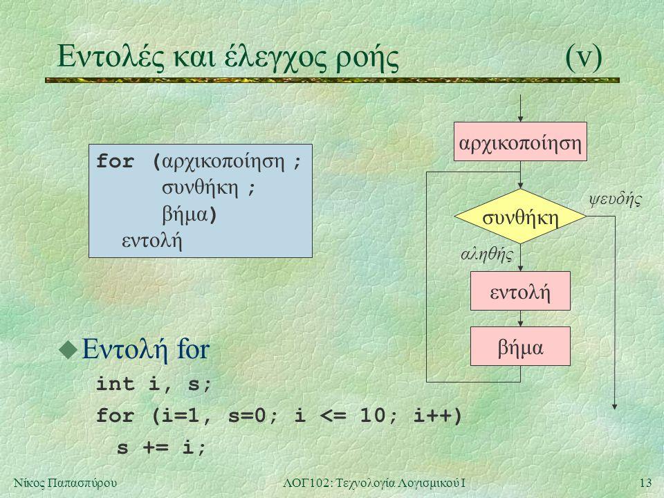 13Νίκος ΠαπασπύρουΛΟΓ102: Τεχνολογία Λογισμικού Ι Eντολές και έλεγχος ροής(v) u Εντολή for int i, s; for (i=1, s=0; i <= 10; i++) s += i; for ( αρχικοποίηση ; συνθήκη ; βήμα ) εντολή συνθήκη εντολή αληθής ψευδής βήμα αρχικοποίηση