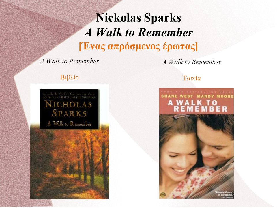 Nickolas Sparks A Walk to Remember [Ένας απρόσμενος έρωτας] A Walk to Remember Βιβλίο A Walk to Remember Ταινία