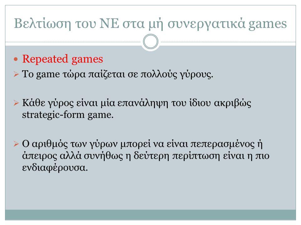 Βελτίωση του ΝΕ στα μή συνεργατικά games Repeated games  Το game τώρα παίζεται σε πολλούς γύρους.