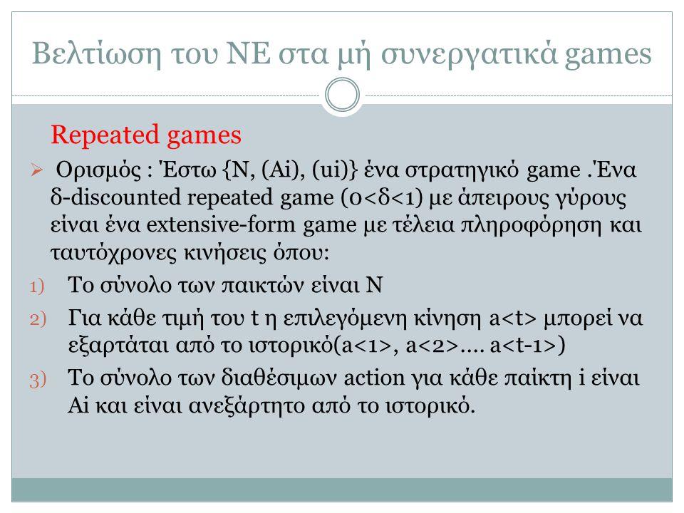 Βελτίωση του ΝΕ στα μή συνεργατικά games Repeated games  Ορισμός : Έστω {N, (Ai), (ui)} ένα στρατηγικό game.Ένα δ-discounted repeated game (0<δ<1) με άπειρους γύρους είναι ένα extensive-form game με τέλεια πληροφόρηση και ταυτόχρονες κινήσεις όπου: 1) Το σύνολο των παικτών είναι Ν 2) Για κάθε τιμή του t η επιλεγόμενη κίνηση a μπορεί να εξαρτάται από το ιστορικό(a, a....