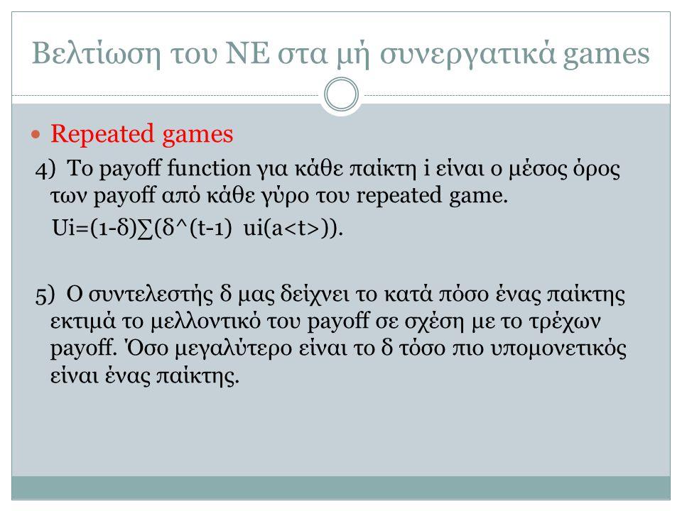 Βελτίωση του ΝΕ στα μή συνεργατικά games Repeated games 4) Το payoff function για κάθε παίκτη i είναι ο μέσος όρος των payoff από κάθε γύρο του repeated game.