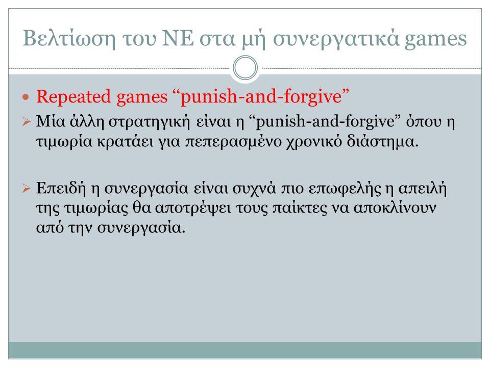 Βελτίωση του ΝΕ στα μή συνεργατικά games Repeated games ''punish-and-forgive  Μία άλλη στρατηγική είναι η ''punish-and-forgive όπου η τιμωρία κρατάει για πεπερασμένο χρονικό διάστημα.