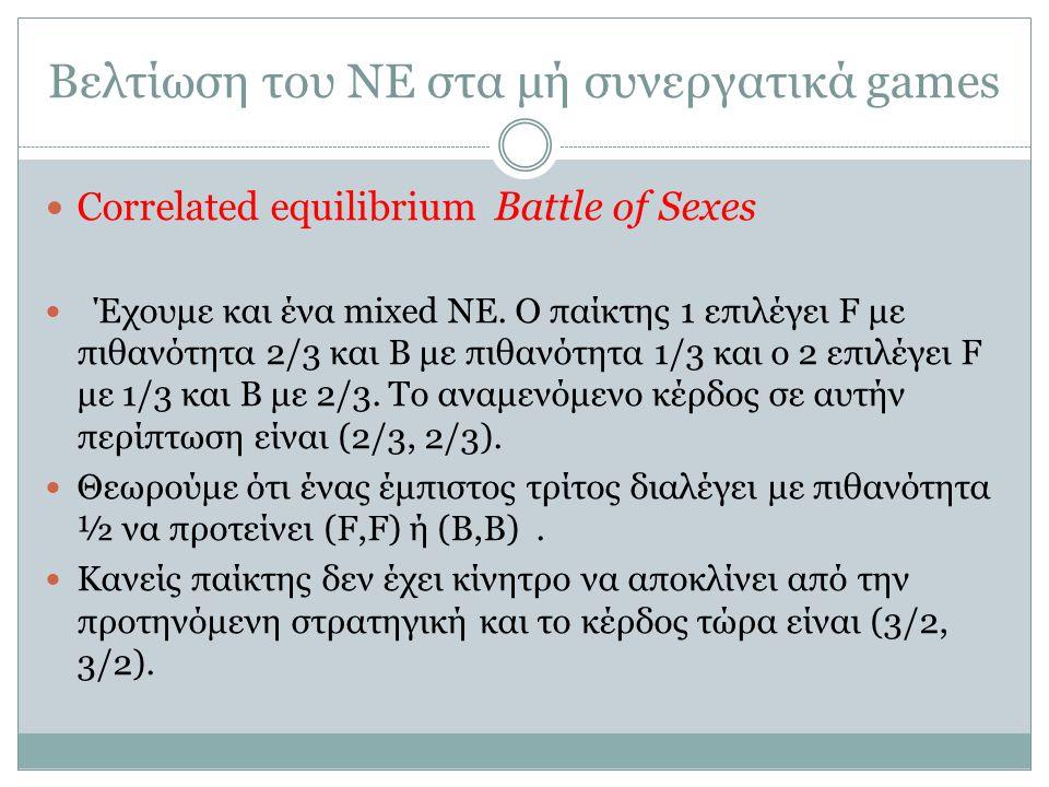 Βελτίωση του ΝΕ στα μή συνεργατικά games Correlated equilibrium Battle of Sexes Έχουμε και ένα mixed NE.