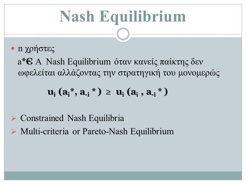 Nash Equilibrium n χρήστες a *Є Α Nash Equilibrium όταν κανείς παίκτης δεν ωφελείται αλλάζοντας την στρατηγική του μονομερώς u i (a i *, a -i * ) ≥ u i (a i, a -i * )  Constrained Nash Equilibria  Multi-criteria or Pareto-Nash Equilibrium