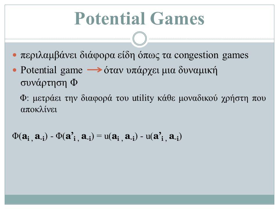 Potential Games περιλαμβάνει διάφορα είδη όπως τα congestion games Potential game όταν υπάρχει μια δυναμική συνάρτηση Φ Φ: μετράει την διαφορά του utility κάθε μοναδικού χρήστη που αποκλίνει Φ( a i, a -i ) - Φ( a' i, a -i ) = u( a i, a -i ) - u( a' i, a -i )