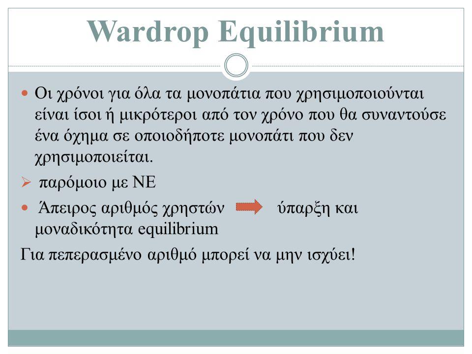 Wardrop Equilibrium Οι χρόνοι για όλα τα μονοπάτια που χρησιμοποιούνται είναι ίσοι ή μικρότεροι από τον χρόνο που θα συναντούσε ένα όχημα σε οποιοδήποτε μονοπάτι που δεν χρησιμοποιείται.