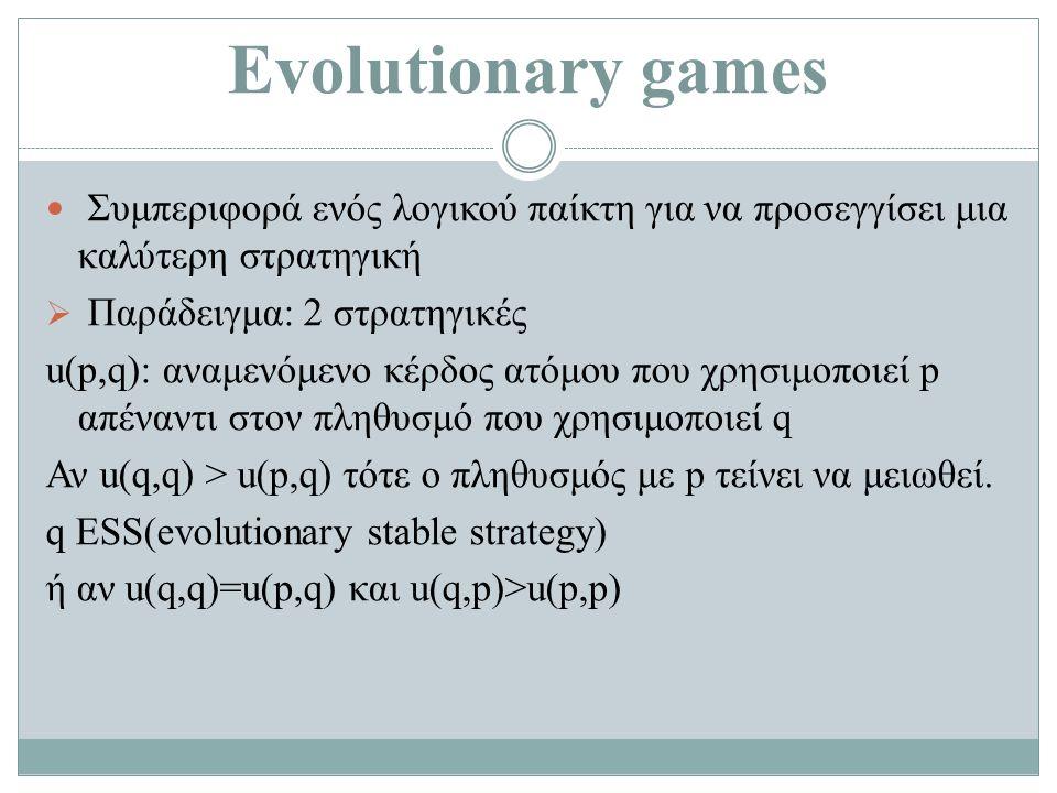 Evolutionary games Συμπεριφορά ενός λογικού παίκτη για να προσεγγίσει μια καλύτερη στρατηγική  Παράδειγμα: 2 στρατηγικές u(p,q): αναμενόμενο κέρδος ατόμου που χρησιμοποιεί p απέναντι στον πληθυσμό που χρησιμοποιεί q Αν u(q,q) > u(p,q) τότε ο πληθυσμός με p τείνει να μειωθεί.