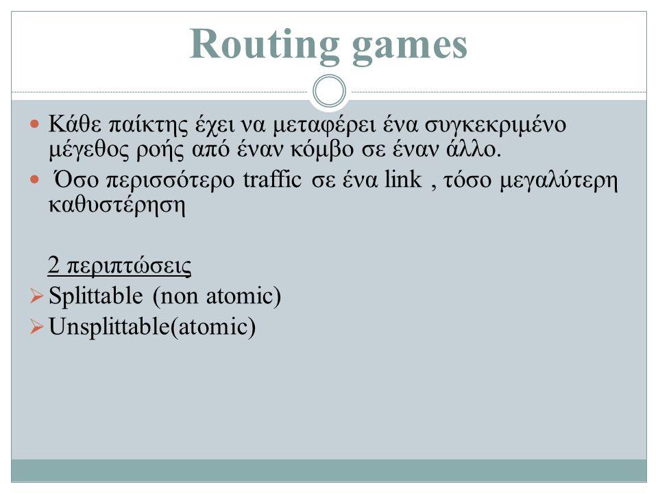 Routing games Κάθε παίκτης έχει να μεταφέρει ένα συγκεκριμένο μέγεθος ροής από έναν κόμβο σε έναν άλλο.