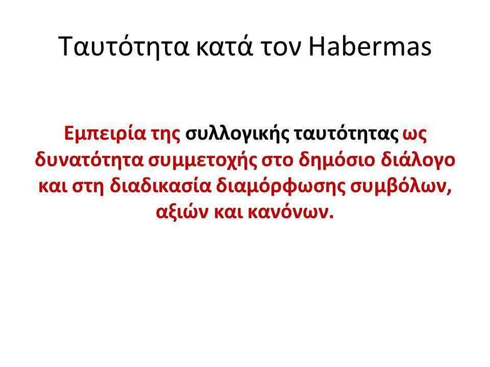Ταυτότητα κατά τον Habermas Eμπειρία της συλλογικής ταυτότητας ως δυνατότητα συμμετοχής στο δημόσιο διάλογο και στη διαδικασία διαμόρφωσης συμβόλων, α