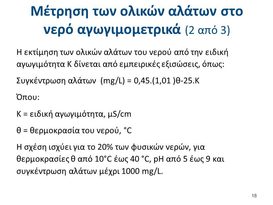 Μέτρηση των ολικών αλάτων στο νερό αγωγιμομετρικά (2 από 3) Η εκτίμηση των ολικών αλάτων του νερού από την ειδική αγωγιμότητα Κ δίνεται από εμπειρικές