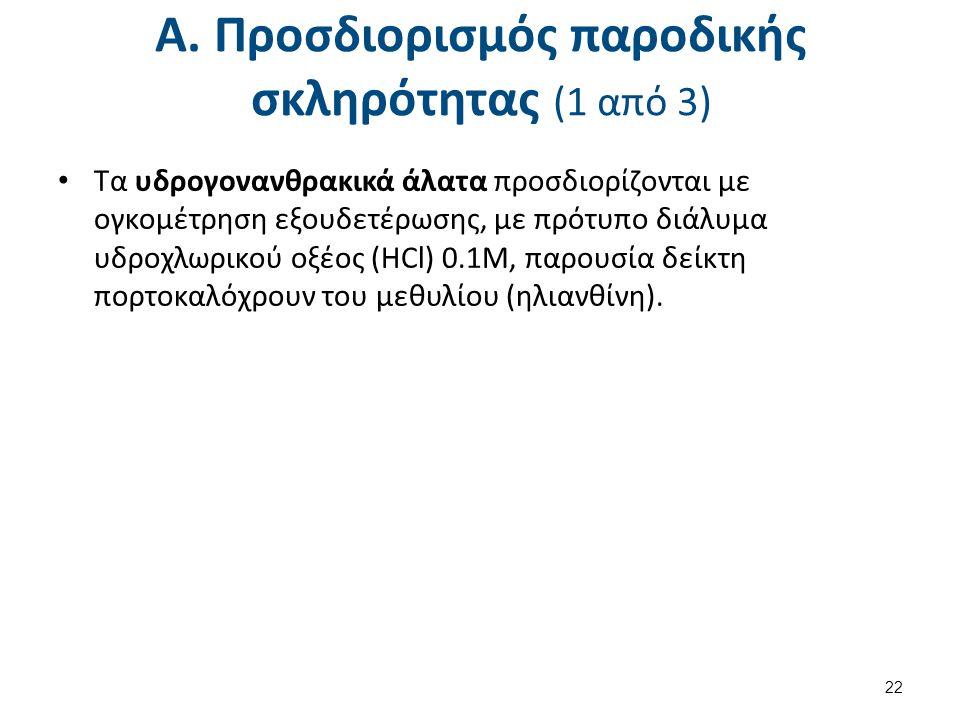 Α. Προσδιορισμός παροδικής σκληρότητας (1 από 3) Τα υδρογονανθρακικά άλατα προσδιορίζονται με ογκομέτρηση εξουδετέρωσης, με πρότυπο διάλυμα υδροχλωρικ