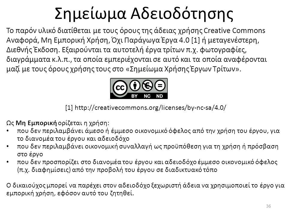 Σημείωμα Αδειοδότησης Το παρόν υλικό διατίθεται με τους όρους της άδειας χρήσης Creative Commons Αναφορά, Μη Εμπορική Χρήση, Όχι Παράγωγα Έργα 4.0 [1]