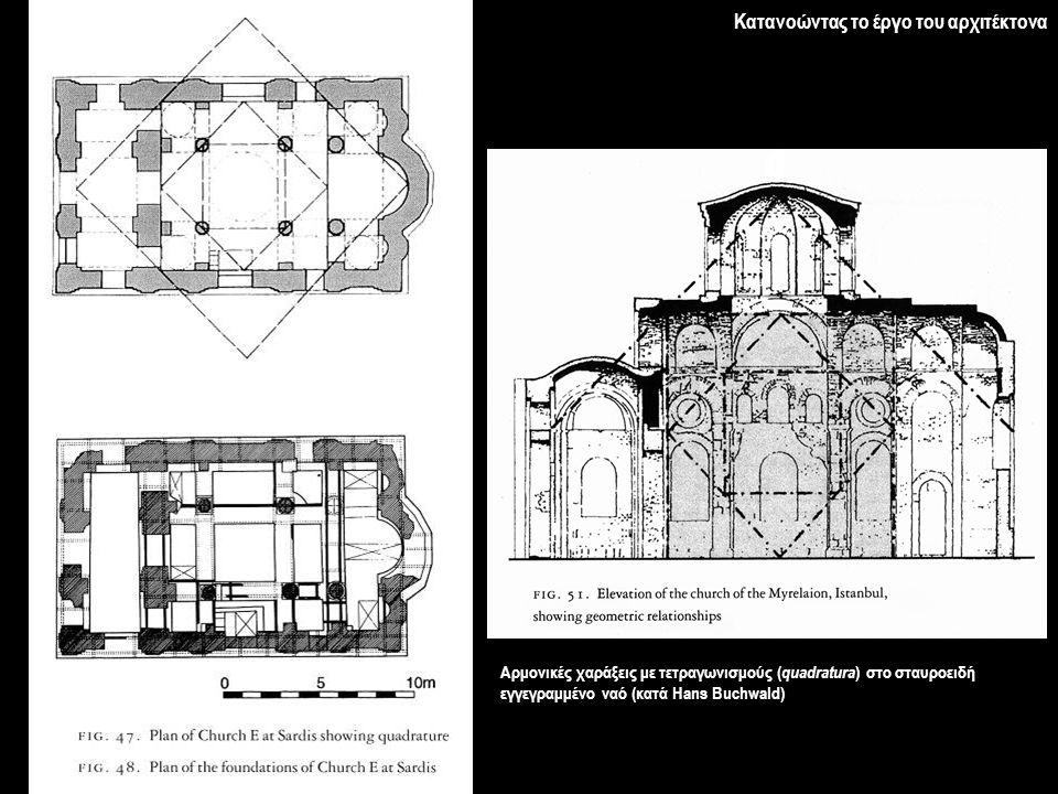Κατανοώντας το έργο του αρχιτέκτονα Αρμονικές χαράξεις με τετραγωνισμούς ( quadratura ) στο σταυροειδή εγγεγραμμένο ναό (κατά Hans Buchwald)