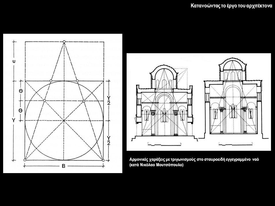 Αρμονικές χαράξεις με τριγωνισμούς στο σταυροειδή εγγεγραμμένο ναό (κατά Νικόλαο Μουτσόπουλο) Κατανοώντας το έργο του αρχιτέκτονα