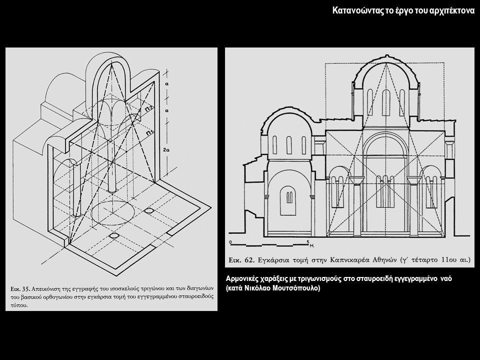 Αρμονικές χαράξεις με τριγωνισμούς στο σταυροειδή εγγεγραμμένο ναό (κατά Νικόλαο Μουτσόπουλο)