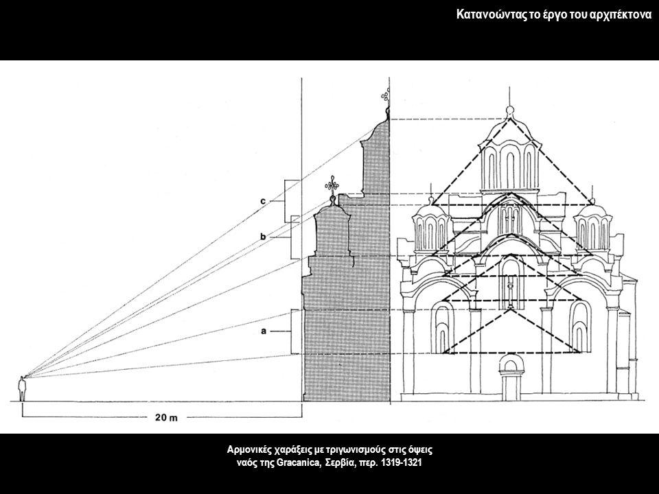 Κατανοώντας το έργο του αρχιτέκτονα Αρμονικές χαράξεις με τριγωνισμούς στις όψεις ναός της Gracanica, Σερβία, περ. 1319-1321