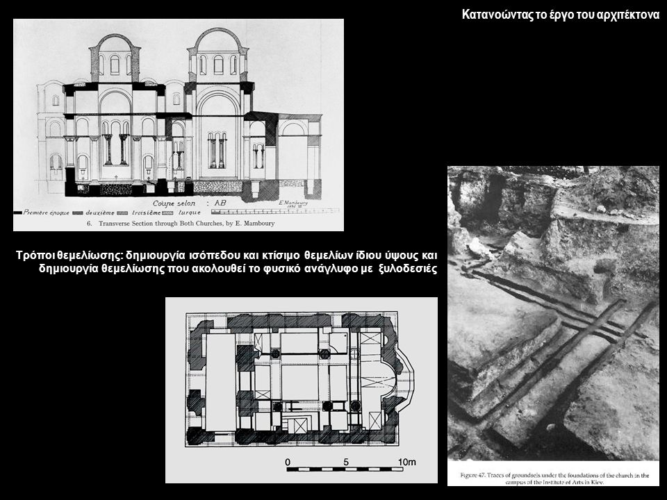 Κατανοώντας το έργο του αρχιτέκτονα Τρόποι θεμελίωσης: δημιουργία ισόπεδου και κτίσιμο θεμελίων ίδιου ύψους και δημιουργία θεμελίωσης που ακολουθεί το
