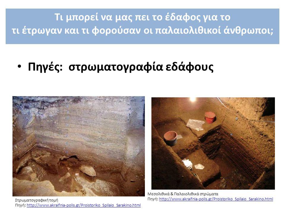 Πηγές: στρωματογραφία εδάφους Στρωματογραφική τομή Πηγή: http://www.akraifnia-polis.gr/Proistoriko_Spilaio_Sarakino.htmlhttp://www.akraifnia-polis.gr/