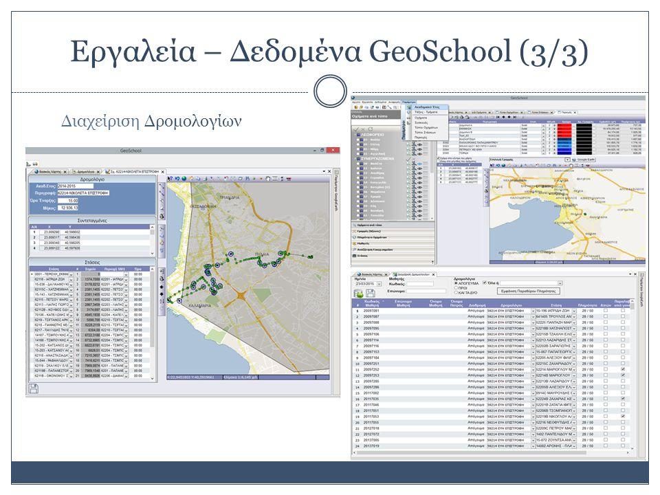 Εργαλεία – Δεδομένα GeoSchool (3/3) Διαχείριση Δρομολογίων