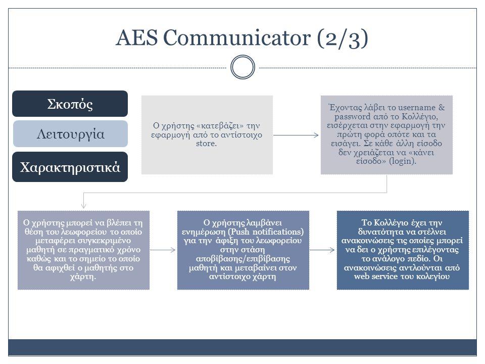 AES Communicator (2/3) Σκοπός Λειτουργία Χαρακτηριστικά Ο χρήστης «κατεβάζει» την εφαρμογή από το αντίστοιχο store.