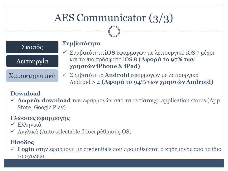 AES Communicator (3/3) Σκοπός Λειτουργία Χαρακτηριστικά Συμβατότητα Συμβατότητα iOS εφαρμογών με λειτουργικό iOS 7 μέχρι και το πιο πρόσφατο iOS 8 (Αφορά το 97% των χρηστών iPhone & iPad) Συμβατότητα Android εφαρμογών με λειτουργικό Android > 4 (Αφορά το 94% των χρηστών Android) Download Δωρεάν download των εφαρμογών από τα αντίστοιχα application stores (Αpp Store, Google Play) Γλώσσες εφαρμογής Ελληνικά Αγγλικά (Auto selectable βάσει ρύθμισης OS) Είσοδος Login στην εφαρμογή με credentials που προμηθεύεται ο κηδεμόνας από το ίδιο το σχολείο